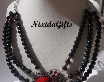 Luck Elephant Black and Granet Necklace Set