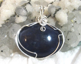 Deep Blue Sodalite Pendant, Blue Unisex Pendant, 935 Solid Sterling Silver Wire Wrapped in Argentium Anti Tarnish wire