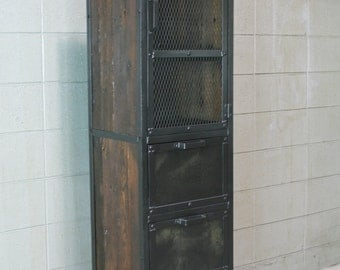 Industrial Cabinet, Reclaimed wood pantry/Cupboard. Reclaimed wood & steel. Handmade and customizable.