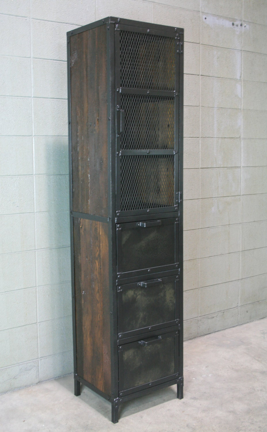Industrial Cabinet Reclaimed Wood Pantry Cupboard Reclaimed
