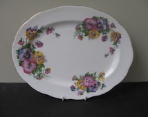 "Vtg Queen Anne Bone China ""SPRING MELODY"" PANSY Flowers Oval Serving Platter"