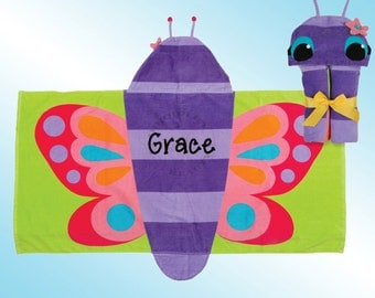 Hooded Beach Towel - Personalized and Embroidered - BUTTERFLY
