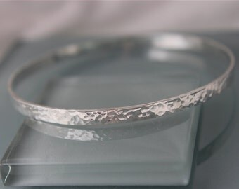 4mm Hammered Sterling Silver Bangle Right Angles Rectangle Modern Personalized Bracelet