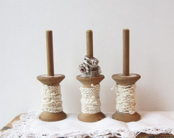 SALE ONE XL Ring Holder / Ring Display - Repurposed Thread Spool - Rustic Jewelry Display - Quantities Ready to Ship