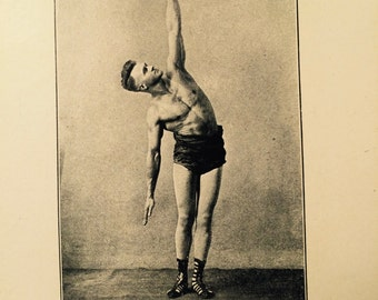 Antique Book Pages - Black and White Photographs of Men Exercising From the Book Health Knowledge c. 1919