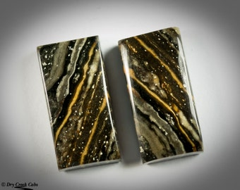 Black Stripe Jasper Matched Pair Cabochons