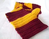 Crochet Scarf // Gryffindor Inspired Crochet Scarf  // FSU Team Colors Scarf // Crimson and Gold Crochet Scarf