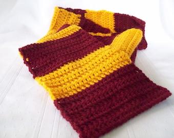 Crochet Scarf // Gryffindor Inspired Crochet Scarf  // FSU Team Colors Scarf // Crimson and Gold Crochet Scarf