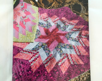 GLIMMER quilt pattern by Jaybird Quilts - 5 sizes - medallion star - fast to make