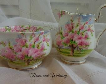 Royal Albert Blossom Time - Made in England - Creamer and Sugar Bowl - gilding