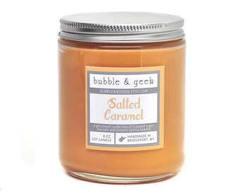 Salted Caramel scented soy candle - 8 oz. jar