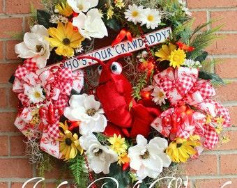 Who's Your Crawdaddy Wreath, Crawfish Boil, Cajun, Creole, Chili pepper lights, Magnolia, Spanish moss, Crawfish beads, summer wreath