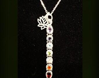 Sterling Silver Healing Rainbow Chakra Necklace with Lotus Charm  -GENIUNE semi precious stones