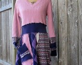 Sweater Dress - Tunic - Eco Clothing - Gypsy Top - Upcycled Clothing - Hippie Top - L/XL - Festival Top - Gypsy Clothing - Handmade Dress
