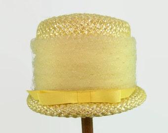 Yellow Straw Bucket Hat with Patterned Netting and Bow, Woven Straw Bowler Hat, Yellow Braided Straw Cloche