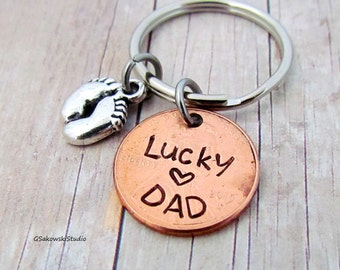 Lucky Dad Penny Personalized Initial Keychain, Customized Dad Lucky Penny Keyring, Fathers Day Gift, New Dad Keychain