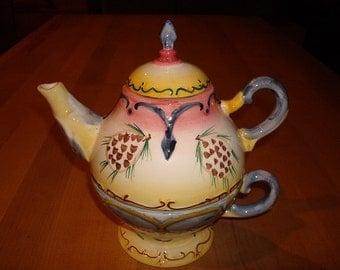 "Unique Style Vintage Ceramic Stacked Teapot / Teacup ""Make the Season Bright"""