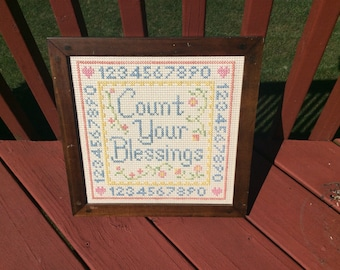 Vintage Count Your Blessings cross stitch picture