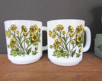 Milk Glass Coffee Mugs Vintage Glasbake Yellow Buttercup Mugs