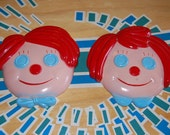 RAGGEDY ANN & ANDY, vintage, plaster, button eyes, wall art, childs room