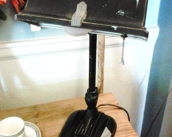 retro, vintage, black, desk, lamp, art deco,