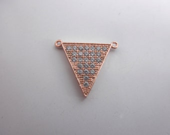 CZ rose gold  pendant - rose gold vermeil charm - pave rose gold triangle -