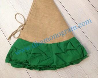 Monogrammed Burlap and Linen Ruffle Christmas Tree Skirt, Red, Green