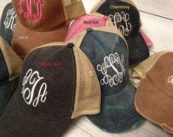 Monogram  Distress Trucker Hat, Monogram Trucker Hat, Monogram Cap, Monogram Baseball Cap