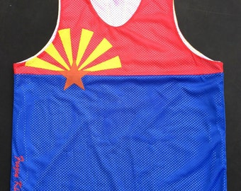 Arizona Flag tank top jersey Custom Sewn Mesh   basketball  style AZ state
