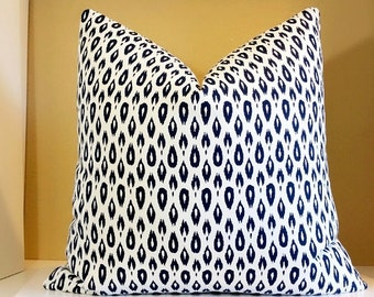 Navy Pillow Cover 20x20, Ikat Decorative throw pillow, pillow case, Fabric both sides
