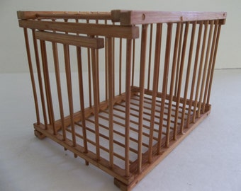 Vintage wood bird cage, small wood bird cage, vintage French cage, craft supply, home decor