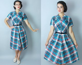 1950s Everlasting day dress | vintage 50s plaid cotton summer dress | small
