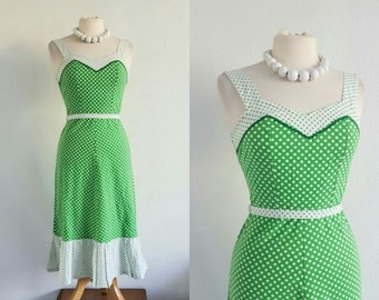 Vintage 80s Green & White Polka Dot Tea Dress - US 4 EU 36 UK 8 - Retro 50s 60s Mod Rockabilly
