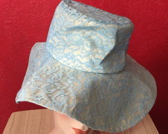 Fab Vintage Baby Blue Lace Glamour House Sun Hat