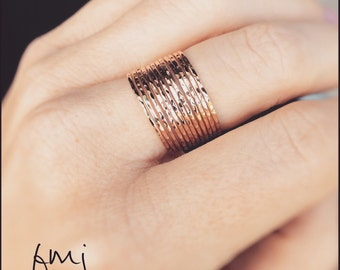 Super Skinny Stacking Ring Stack, Dimple Textured Ring Set, Ring Set, Textured Rings, Boho Stacking Rings, Minimalist, Modern, Skinny Ring