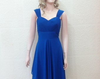 Royal Blue Bridesmaid Dress. Knee Length Dress.