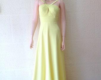 Pale Yellow Prom Dress. Long Bridesmaid Dress.