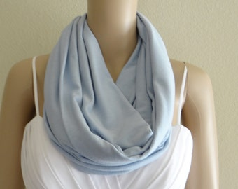 Light Baby Blue Infinity Scarf. Light Baby Blue Circle Scarf. Soft Cotton Spandex Loop Scarf.