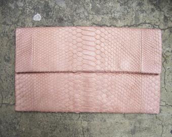 OVERSIZE - Pastel Cream Tan Nude Fold Over Python Snakeskin Leather Clutch