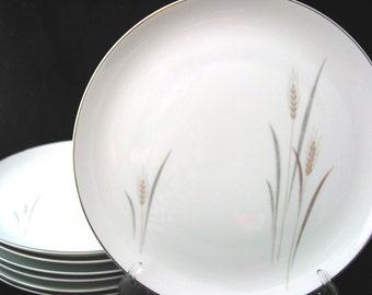 7 Fine China of Japan Platinum Wheat Dinner Plates Vintage 1950s / 1960s Max Schonfeld Set of 7