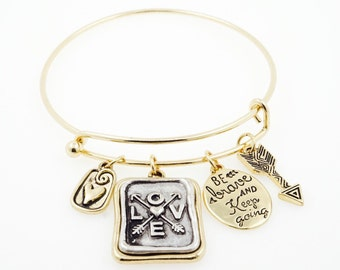 "Gold ""Love, Be Brave & Keep Going"" Charm Bracelet"