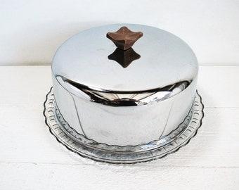 Vintage Cake Plate Chrome Covered Glass Cake Plate