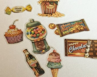 A Pack of 32 pcs 8 Designs Stickers Seal: Retro Candies Memory