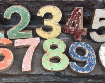 "Rustic Distressed 6"" Wooden Number, Wood Numeral, Painted Distressed Numbes, Farmhouse Numbers, Rustic Home Decor, Accent Numbers, Numerals"