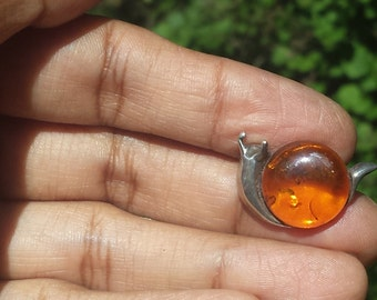 Vintage Amber Sterling Silver Snail Brooch Pin