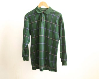 90s PLAID hunter green fitted oxford POLO shirt top