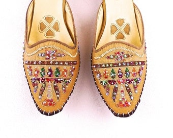 Kitten Heel Beaded and Embroidered Mule Moccasins Vintage