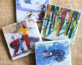 Skiing- Ski, Ski Gift, Ski decor, Winter, Winter Decor, Ski Cabin, Ski Cabin Decor, Ski Chalet, Sport Decor, Ski Coaster