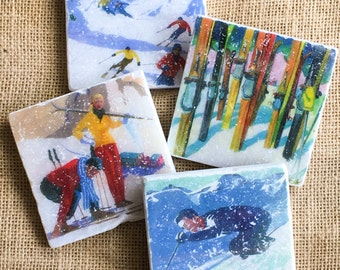 Skiing- Ski, Ski Gift, Ski decor, Winter, Winter Decor, Ski Cabin, Ski Cabin Decor, Ski Chalet, Sport Decor, Ski Coaster