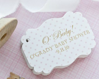 Oh Baby Baby Shower Tags - Oh baby - O' Baby Favor Tags - Baby Shower Favor Tags - Polka Dot Baby Shower- Set of 40